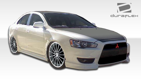 2008 2015 mitsubishi lancer duraflex gt s look front add on bumper extensions 2 piece