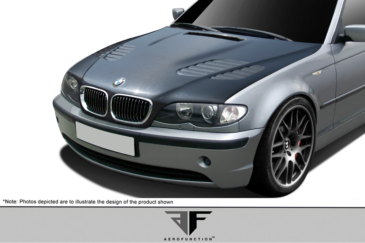 02 05 bmw 3 ser 4dr e46 carbon af 2 hood cfp 1 pc. Black Bedroom Furniture Sets. Home Design Ideas