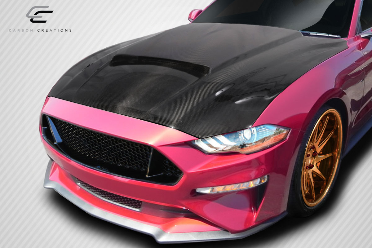 2018 Ford Mustang 0 Hood Body Kit - 2018-2019 Ford Mustang Carbon Creations CVX Hood - 1 Piece