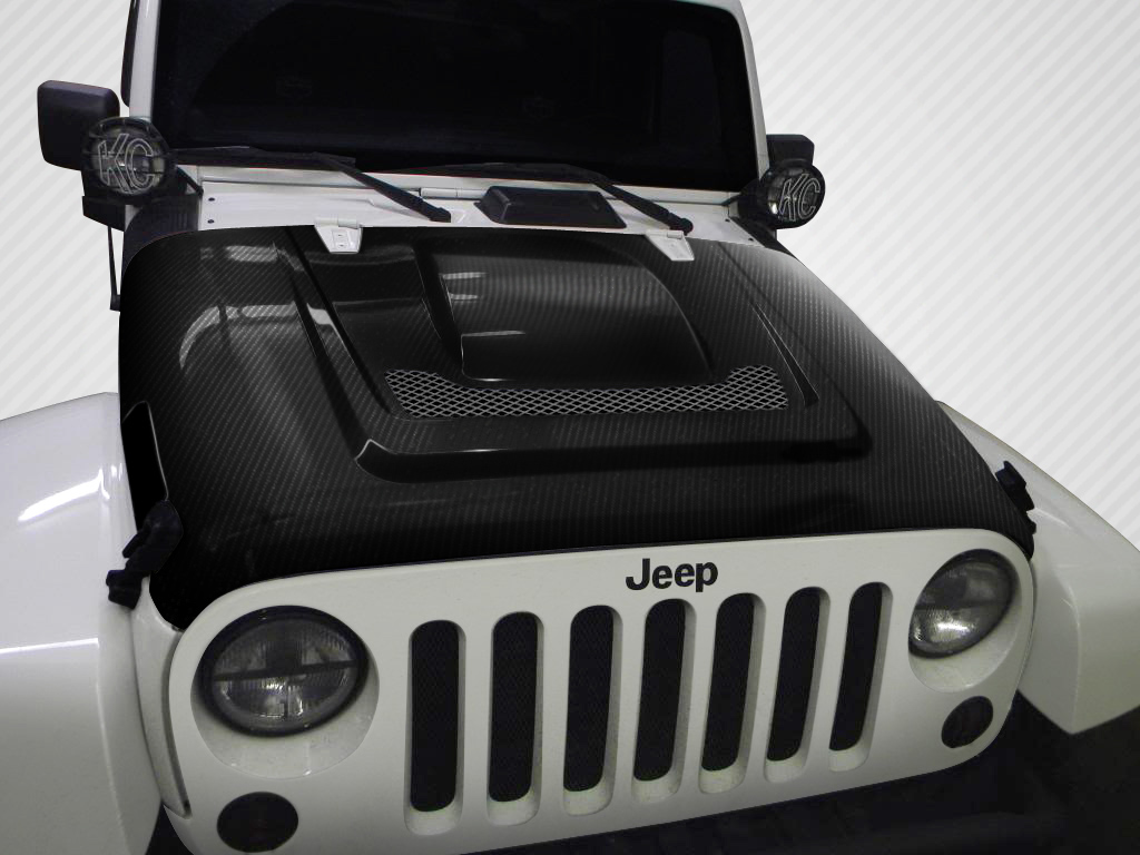 2016 Jeep Wrangler ALL - Carbon Fiber Fibre Hood Bodykit - Jeep Wrangler Carbon Creations Heat Reduction Hood - 1 Piece