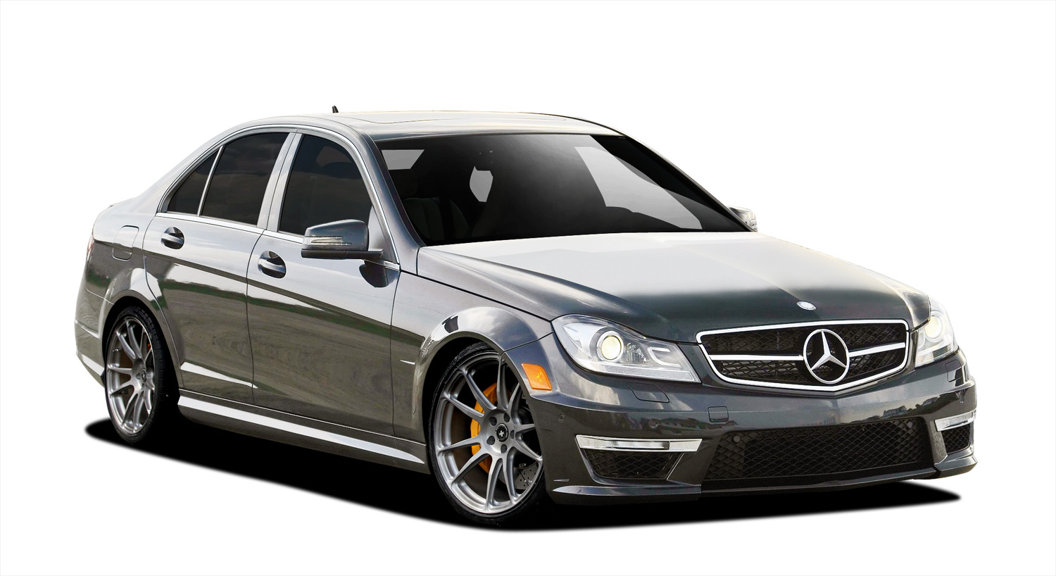 Polypropylene Body Kit Bodykit for 2014 Mercedes C Class ALL - Mercedes C Class C250 W204 Vaero C63 Look Conversion Kit ( with PDC ) - 9 Piece - Inclu