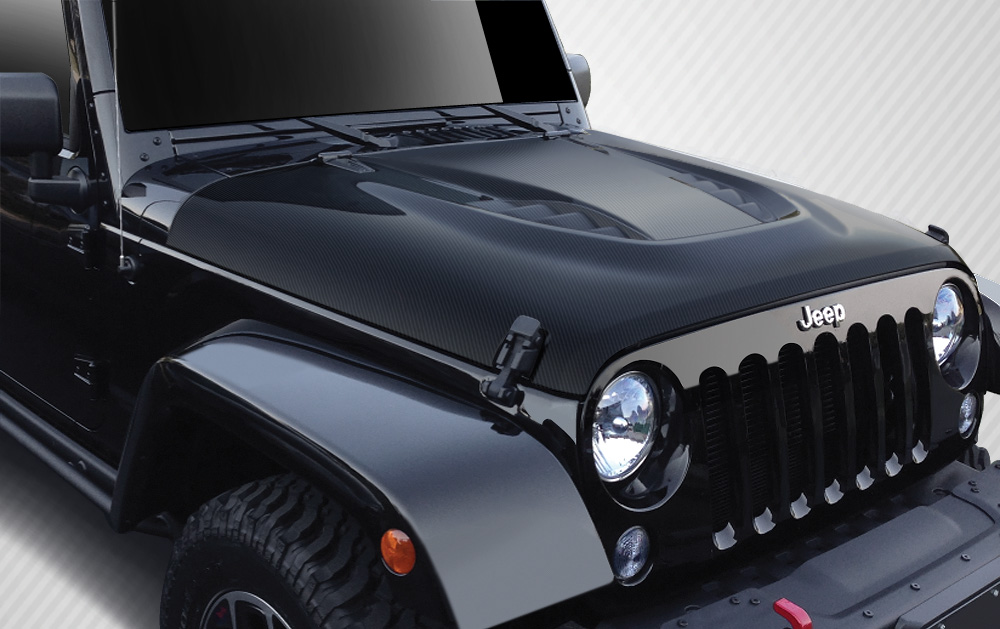 07 16 Jeep Wrangler Power Dome Carbon Fiber Creations Body