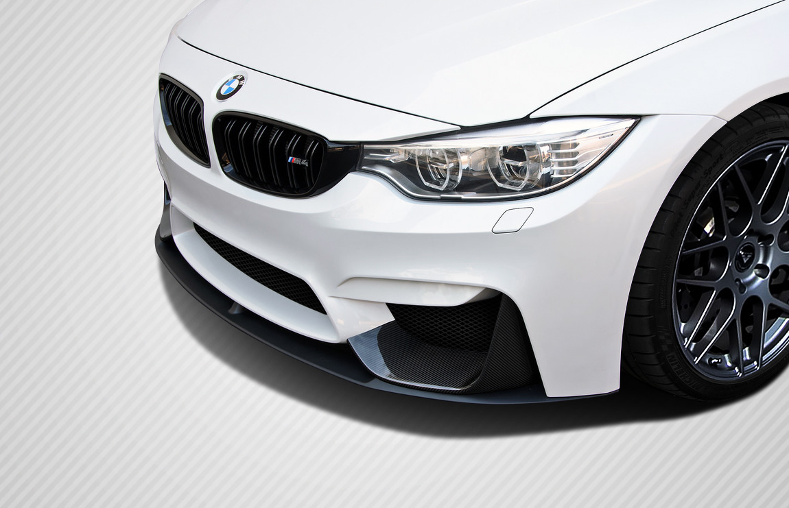 14 18 Bmw M3 M Perf Look Carbon Fiber Front Bumper Add On Body Kit