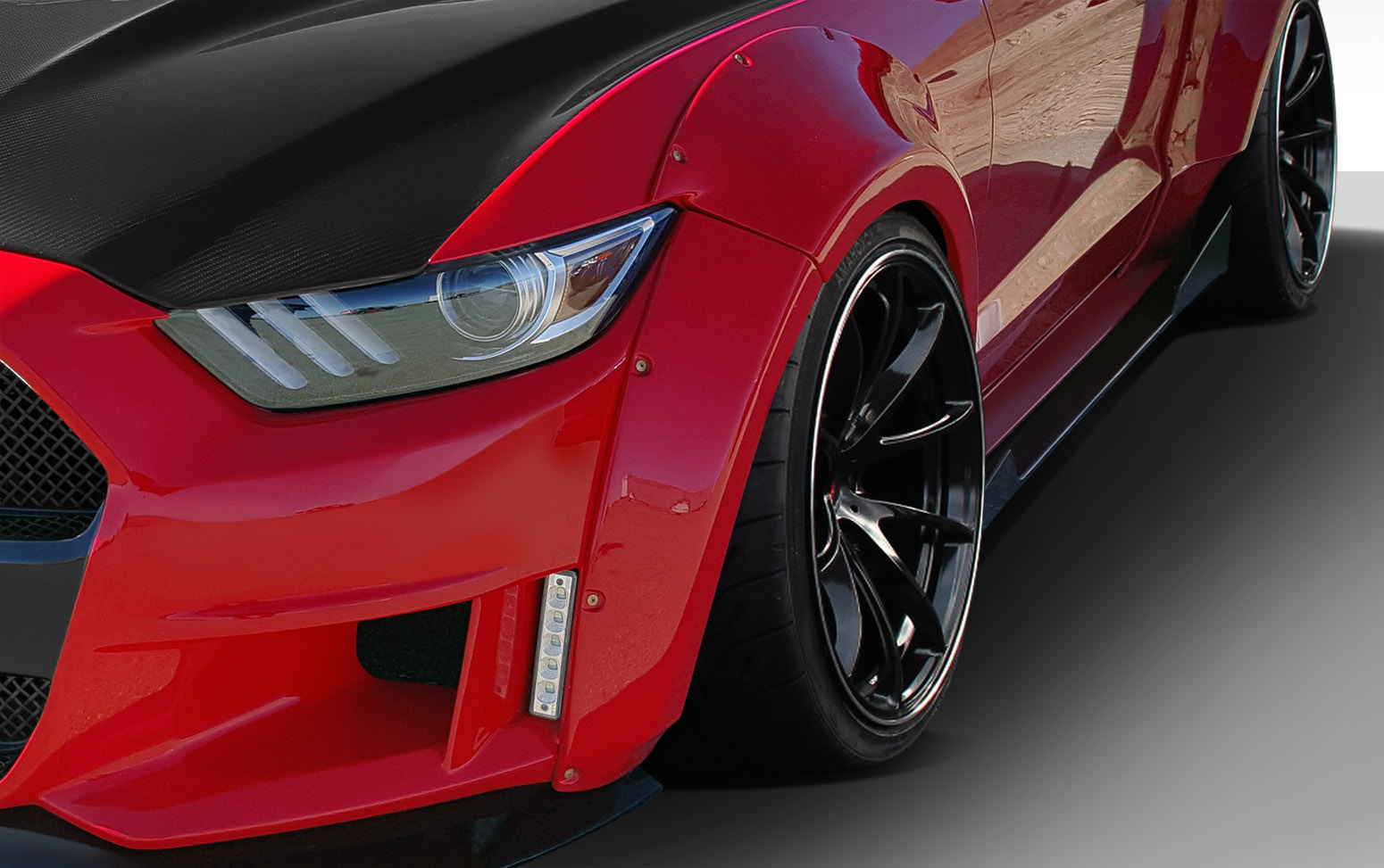 2015-2017 Ford Mustang Duraflex Grid Wide Body Front Fender Flares - 4 Piece
