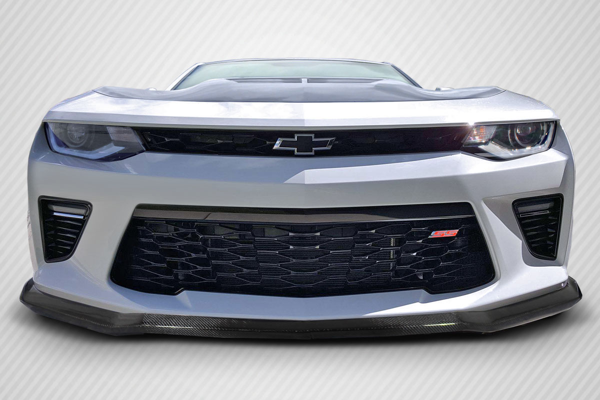 IKON MOTORSPORTS Front Bumper Lip Unpainted Black Compatible with 2016-2018 Chevy Camaro V6 Stingray Stage 3 Style PU Bumper Guard Spoiler for 2017