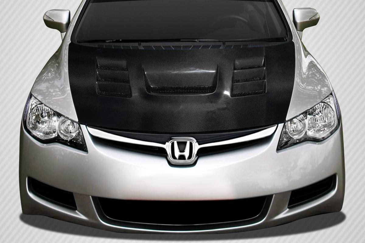 2007 honda civic 4dr carbon fiber hood body kit 2006 2011 jdm honda civic 4dr carbon creations. Black Bedroom Furniture Sets. Home Design Ideas