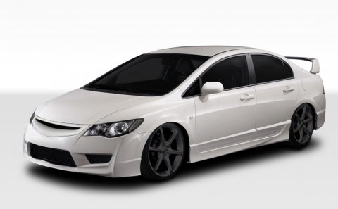 1 Piece Extreme Dimensions Duraflex Replacement for 2006-2011 JDM Honda Civic 4DR Supremo Hood