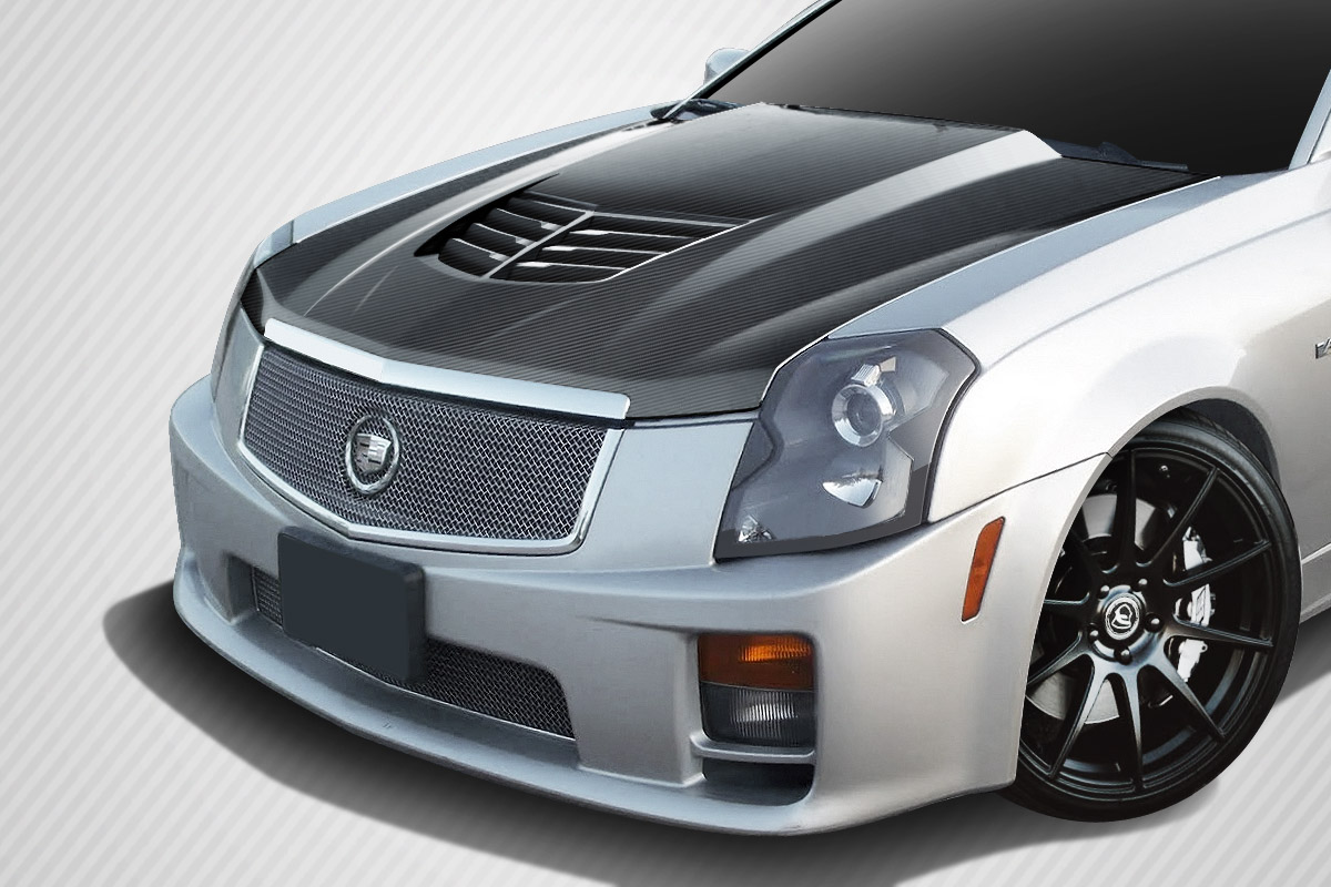 2007 Cadillac CTS ALL - Carbon Fiber Fibre Hood Bodykit - Cadillac CTS Carbon Creations Stingray Z Hood- 1 Piece