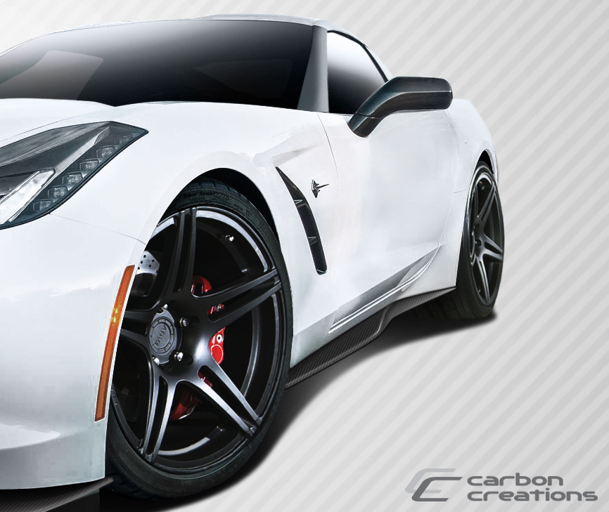 2016 Chevrolet Corvette ALL - Carbon Fiber Fibre Sideskirts Bodykit - Chevrolet Corvette C7 Carbon Creations Thunderbolt Side Splitters - 2 Piece
