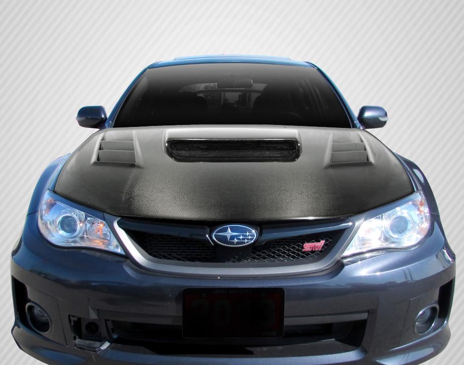 carbon fiber fibre hood body kit for 2009 subaru impreza subaru impreza 2008 2014 wrx sti. Black Bedroom Furniture Sets. Home Design Ideas